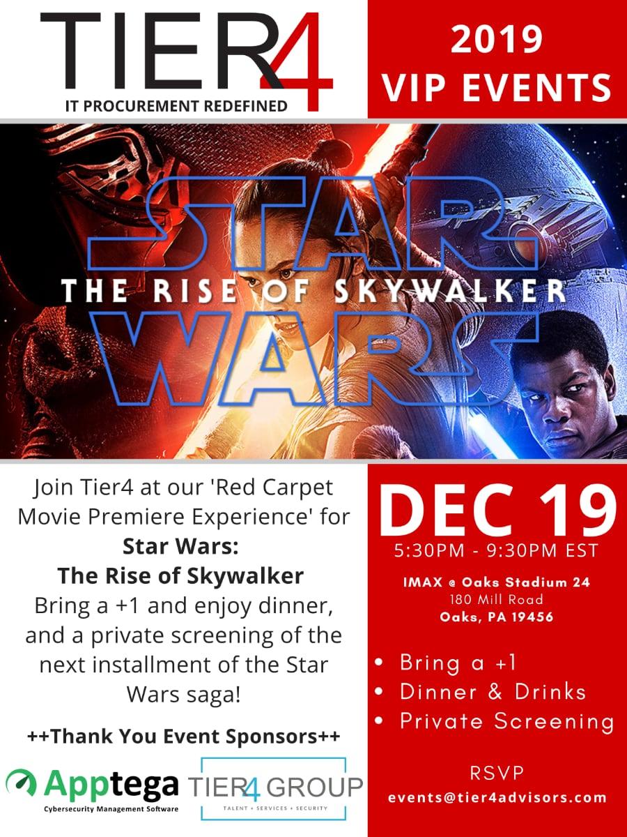 Tier4 Advisors Events | Star Wars: The Rise of Skywalker Movie Premiere (Philadelphia) IMAX