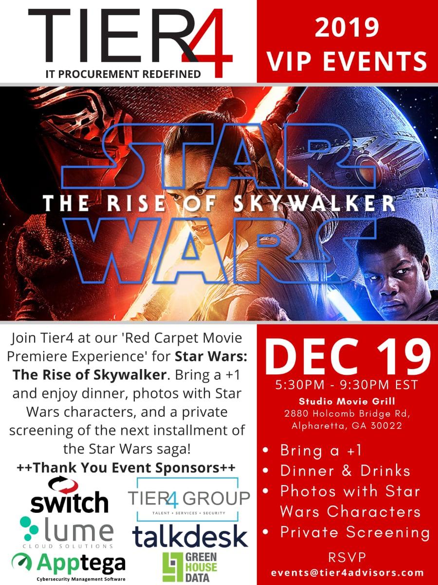 Tier4 Advisors Events | Star Wars: The Rise of Skywalker Movie Premiere (Atlanta)